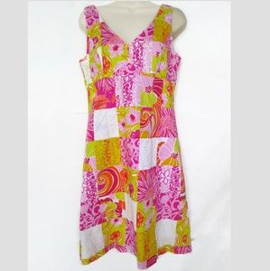 Lilly Pulitzer Pink Yellow Sun Dress 6 Patchwork